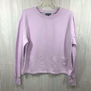 Bebe Sport Pinkish Purple Logo Crew Sweatshirt L